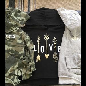 Justice Hoodies (3) Size 8